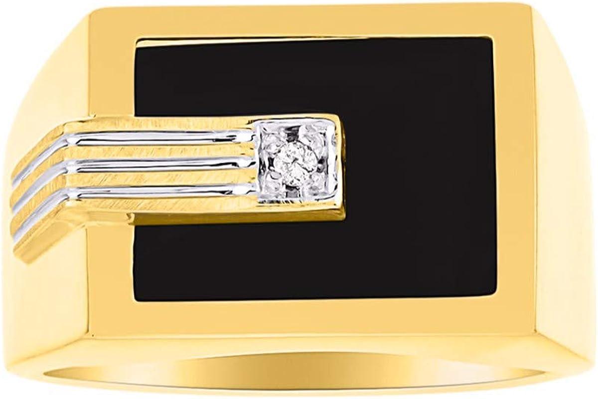 Juego de anillos de ónix para hombre con diamante y plata chapada en oro amarillo