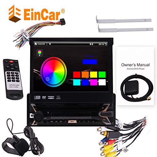 EinCar Android 7.1 Quad Core Single Din Headunit Colorful Button Car Stereo GPS Navi DVD Player 7 inch HD 1024600 Capacitive Touch Screen Support Bluetooth FM AM Radio WiFi YSB/SD 1080P Video Steer