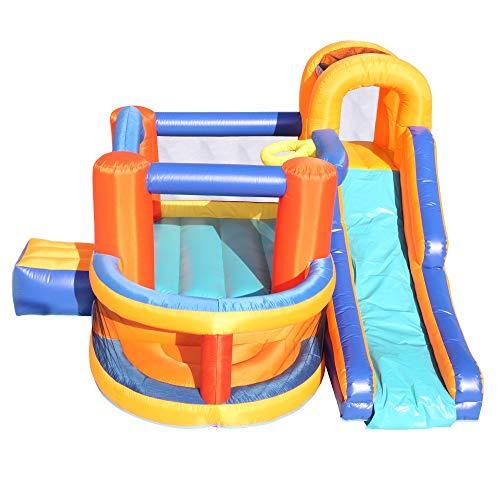 HSTD Aufblasbares Bounce House, Slide Bouncer Mit Basketballkorb, Kletterwand, Großer Sprungbereich, Idealer Kinderpullover