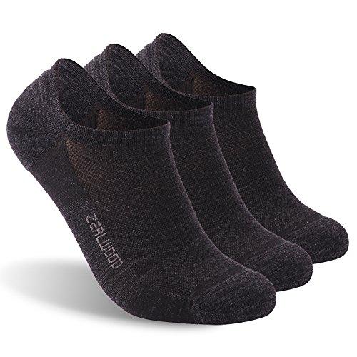 No Show Socks,ZEALWOOD Women Non Slip Ankle Athletic Socks Running Golf Tennis Socks Winter Warm Wool Socks Merino Wool Low Cut Socks Outdoor Sports Socks Gifts for Men Him Husband 3 Pair-Black Large