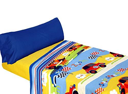 Montse Interiors Juego de sábanas Estampado Coches (Speedy, para Cama de 90x190/200)