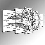 Panorama Progetto Millennium Falcon - Guerre Stellari Stampa su Tela Alta qualità Foto di Arte della Parete,Grande Set di 5 Decorazioni da Parete 200 x 100 cm - Senza Cornice