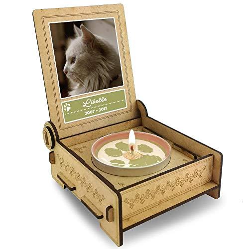 TROSTLICHT Katze, personalisierte Trauerkerze Katze, Trauergeschenk Katze Andenken, Gratis e-Book, Katze Gedenken Haustier, statt Trauerkarte Tiere