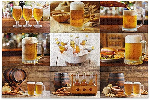 Kids age Beer Collage with Various Glasses and Bottles Puzzles for Adults 500 Piece Wooden Jigsaw Puzzles Educational Intellectual Decompressing Funny Game for Adults and Kids