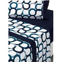 SABANALIA - Juego de sábanas Estampadas Aros (Disponible en Varios tamaños y Colores), Cama 150, Azul