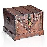 Brynnberg Caja de Madera Vitec 24x21x18cm - Cofre del Tesoro Pirata de Estilo Vintage -