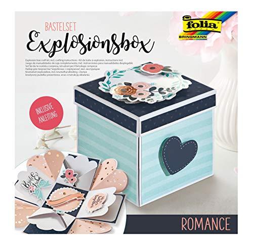 folia 11610 Bastelset Explosionsbox Romance, originelle Geschenkbox mit Aufklapp-Funktion, ca. 7,5 x 7,5 x 7,5 cm groß, ideal für Geburtstag, Hochzeit, Muttertag, Valentinstag, usw, bunt, one size