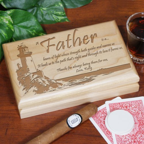 GiftsForYouNow Lighting The Way Personalized Father's Day Valet Box, 7½' x 4¾' x 1½', Cherry Wood