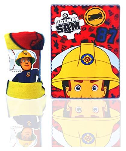 Feuerwehrmann Sam Kinder Kuscheldecke Fleece Decke, 100 x 150 cm, navy