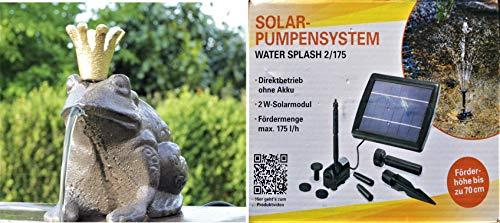 powershop11 Wasserspeier Froschkönig Guß 13 cm mit Solarpumpe
