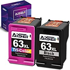 Contents: Remanufactured ink cartridges for HP 63XL 63 XL (1 Black and 1 Tri-color) Remanufatured HP ink cartridge 63 work with: OfficeJet 5255 5258 5260 5200 4650 4652 3830 3831 3832 3833 3834 4652 4654 4655, ENVY 4520 4510 4512 4513 4516 4517 4522 ...