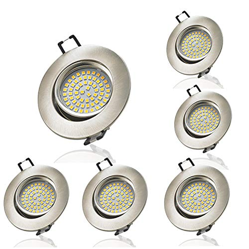 LED Einbaustrahler ultra Flach, Vaxiuja Led Einbaustrahler Dimmbar Flach 5W Downlight Für Decken, Schränke Dimmbar Kein Blitzlicht 6er Pack (Warmes Weiß)
