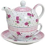 Tea for one 3 teiliges Set Teekanne mit Tasse und