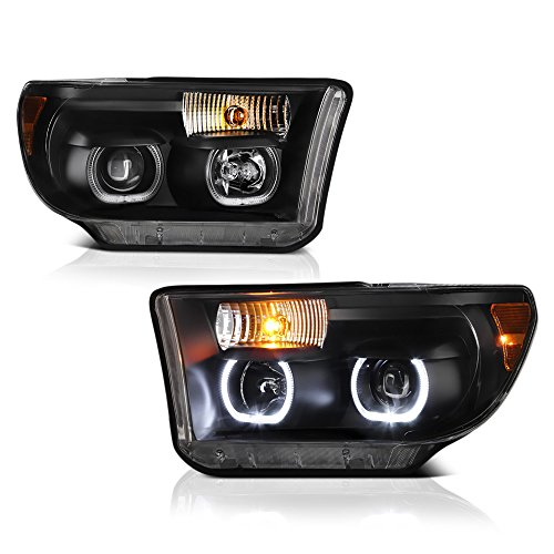 VIPMOTOZ LED Halo Ring Projector Headlight Assembly For 2007-2013 Toyota Tundra & 2008-2017 Sequoia - Matte Black Housing, Driver and Passenger Side