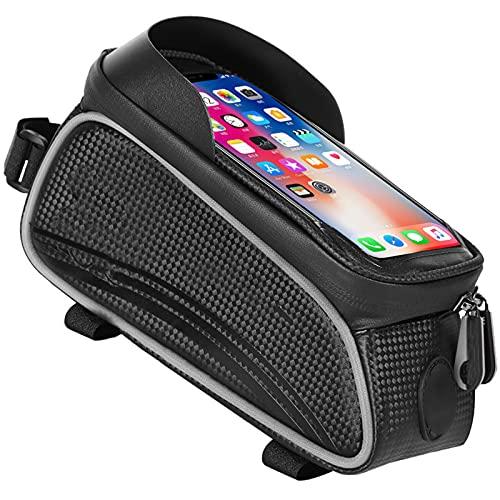 OEMC Bolsa de Bicicleta Bolsa Cuadro Bicicleta Impermeable Bolsa de Tubo Superior Delantero Pantalla Táctil Soporte Movil Bici Soporte GPS para Teléfono Inteligente por Debajo de 6,5 Pulgadas