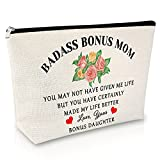 Bonus Mom Gift Makeup Bags Thank You Gift for Birthday Gifts for Women Family Adoption Gifts Cosmetic Bag Mother in Law Gift Mother Gift from Daughter Son Travel Cosmetic Pouch
