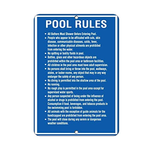 Warnschild Pool Rules All Bathers Must Shower Before Entering Pool 8X12 Inches Verkehrszeichen Geschäftsschild Aluminium Metall Zinnschild