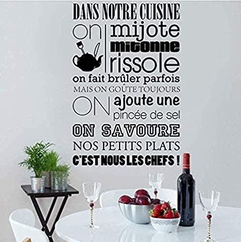 QJIAHQ Etiqueta de la pared Citación francesa Reglas de la cocina Calcomanía Wal Vinilo Arte Mural Decoración de la habitación Papel tapiz autoadhesivo DIY Deco 57 86Cm