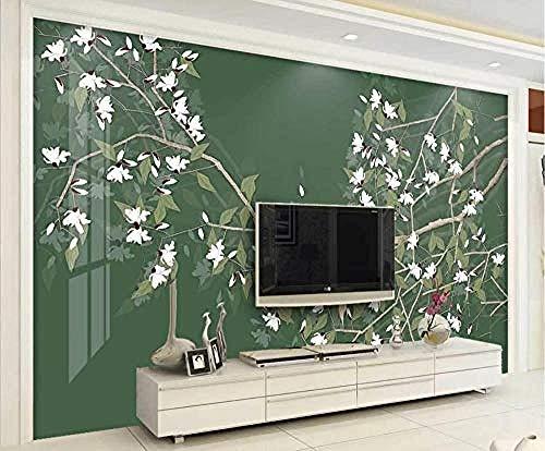 Gongbi behang 3D gongbi bloem vogel donkergroen modern gepersonaliseerd fotobehang behang wandschilderij 350 cm x 256 cm
