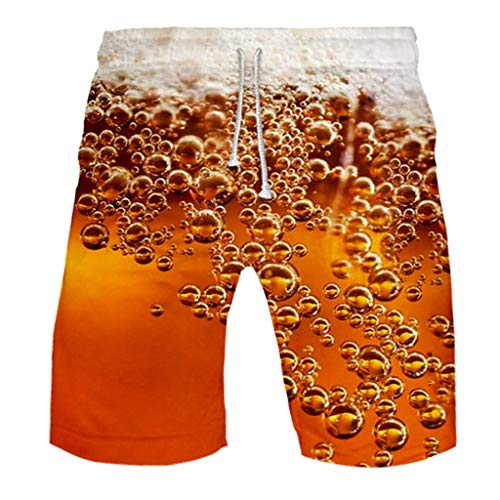 Anglewolf Herren Badehose Sommer Badeshorts 3D Print Grafik Strand Surf Board Shorts einstellbare Kordelzug Freizeit Schwimmen Laufen Cargo Short(Orange,S)