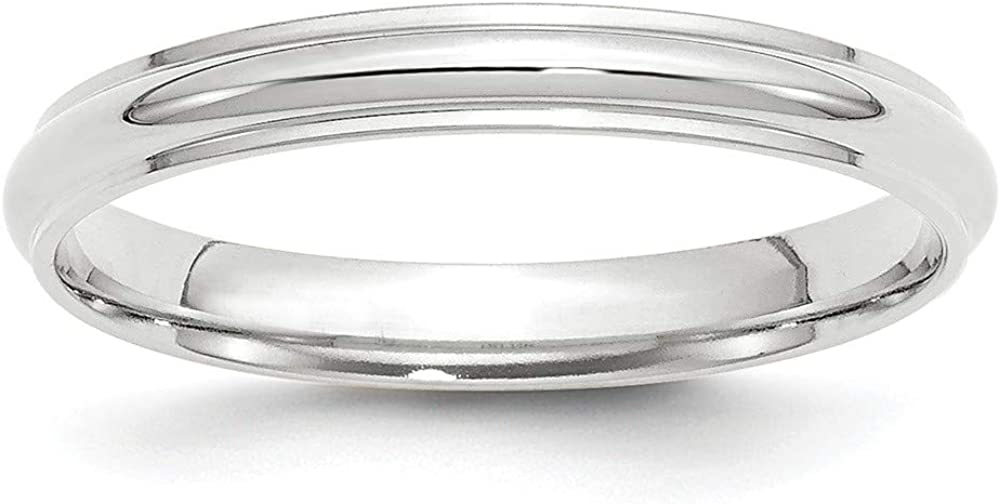 10K White Gold 3mm Half Round with Edge Band Ring Size 4 to 14