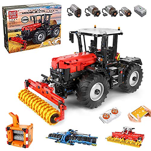 Technik Traktor Technic Ferngesteuert Traktor, Mould King 17020, 2716 Teile, mit 4 Motor, 4-in-1 Traktor Modell Groß Klemmbausteine Bausatz Kompatibel mit Lego Technic
