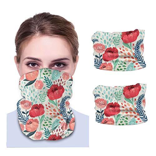 Máscara facial Bandana para cubierta de polvo acuarela carmesí amapola floral diadema cuello calentador 2 piezas