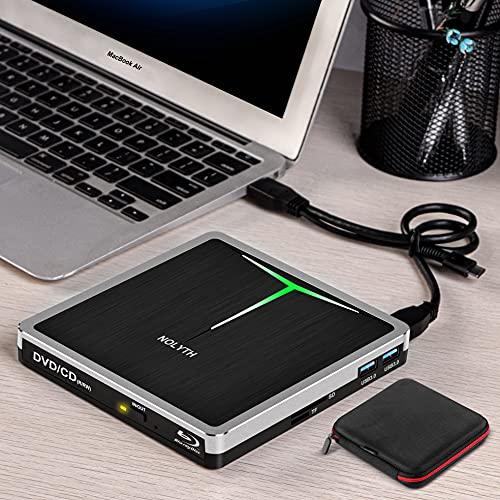 NOLYTH Externes Blu-Ray-DVD-Laufwerk USB 3.0 Typ-C 5-in-1 Blu-ray-Player BD DVD CD Brenner Laufwerk für Laptop MacBook Air Pro Mac iMac Windows PC Desktop