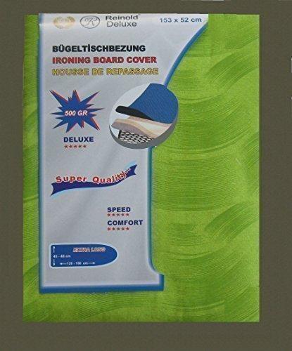 Strijkplankovertrek/strijkplankovertrek in groen/zilver geschikt voor alle gangbare strijkplanken! Afmetingen: ca. 153 x 50 cm, 500 gram met trekkoord.