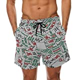 Casual Beach Shorts China Entertainment Mahjong Table Game Elastic Waist Casual Shorts for Men Beach...