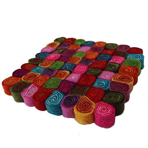 Maharanis Filz Untersetzer Topfuntersetzer bunt 20 cm handgefertigt reine Wolle, hitzebeständig