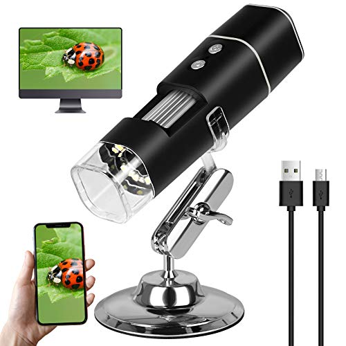 Wireless Digital Microscope, 50X-1000X Magnification Mini Pocket Handheld WiFi USB Endoscope Magnifier HD Inspection Camera with 8 LED and Stand Compatible with iPhone iPad Android Laptop