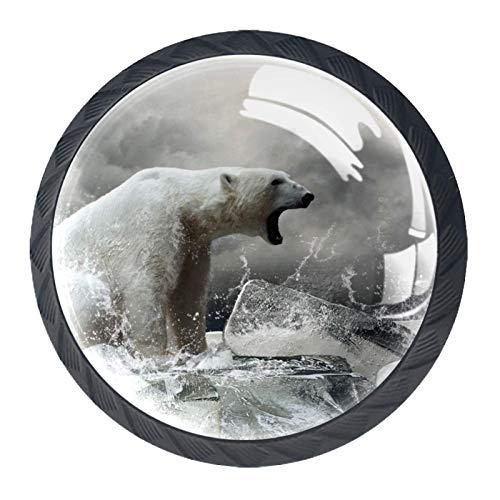 (4 piezas) pomos de cajón para cajones con tiradores de cristal para gabinete de casa, oficina, armario, fondo de oso polar