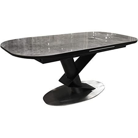 Meubletmoi 180 220cm Rectangular Extendable Dining Table With Ceramic Top Marble Effect Metal Frame Modern Design Imperia Amazon De Home Kitchen