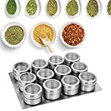 SDTING-Magnetic Spice Jars Tins Stainless Steel Spice Jars Set with Clear Lid Labels Seasoning Pepper Spice Storage Container Box