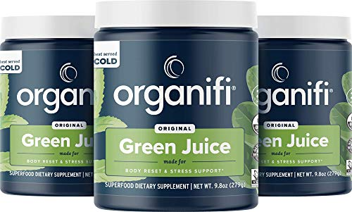 Organifi: Green Juice - Organic Superfood Supplement Powder - 3 Pack - Supply - Organic Vegan Greens - Hydrates and Revitalizes - Support Immunity, Relaxation and Sleep