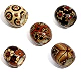 SiAura Material - 100 perlas de madera de 16 x 17 mm con agujero de 7,4 mm, varios patrones de colores para manualidades