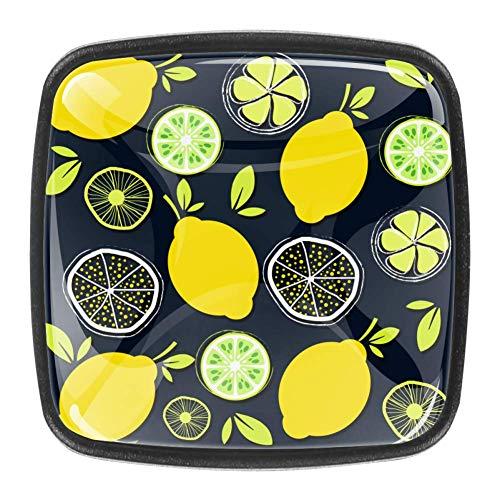 Yuzheng Dibujos Animados Fruta limón Perillas de gabinete cuadradas de Cristal de...