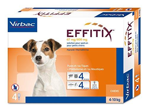 Effitix Lot de 4 pipettes anti-puces et tiques pour chien 4 à 10 kg