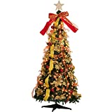Fully Christmas Tree, Pop Up Christmas Tree with Warm Lights, Easy Collapsible Christmas Tree (6ft 350 Lights)