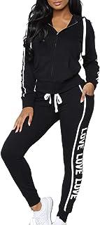 Women's Comfy Striped Letter Graphic Top Pants Sweatsuit Set Off White Sports Love Hoodies Sweatpants Suits