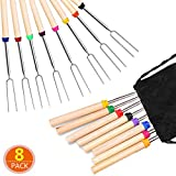 Barbecue Forks Set of 8 Marshmallow Roasting Sticks Extendable Stainless Steel 32 Inch U Shape Hot Dog Fork...
