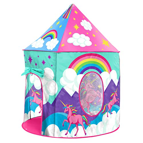 Image of the USA Toyz Unicorn Play Tent for Kids, Indoor Pop Up Playhouse Tent for Girls and Boys with Included Unicorn Headband and Kids Tent Storage Carry Bag