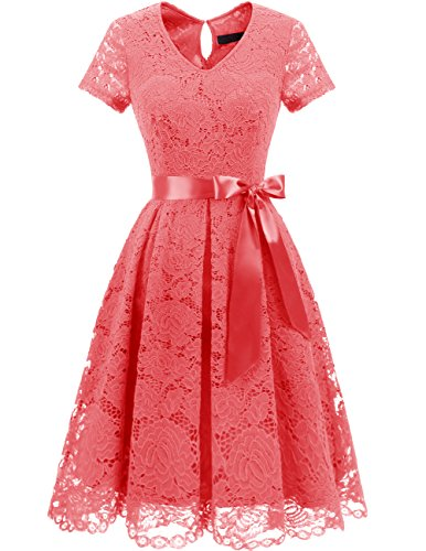 DRESSTELLS Damen Elegant Abendkleider für Hochzeit Herzform Spitzenkleid Cocktail Party Floral Kleid Coral L