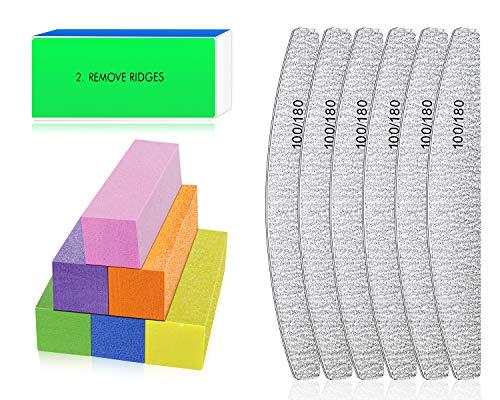 Lime à Ongles Professionnelle - Bloc de Polissage Ongle pour le polissage des ongles, outils de manucure pour la combinaison de gel pour les ongles pour salon de manucure et maison