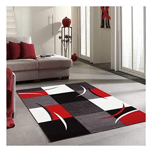 UN AMOUR DE TAPIS 160x230 Diamond Comma - Tapis Moderne Design Tapis Salon - Tapis Rouge, Gris, Noir, créme - Couleurs et Tailles Disponibles