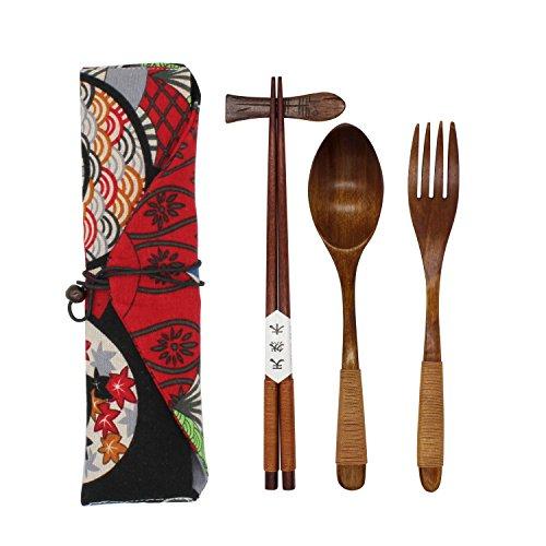Japanese Natural Wooden Tableware Sets of 5-pieces (1 Spoon, 1 Chopsticks, 1 Fork, 1 Chopsticks Holder, 1 Tableware Bag) (Q15102)