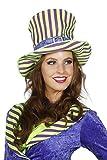 Joker Hut Streifen Zylinder Kopfbedeckung Hutmacher Karneval Fasching Lila Grün