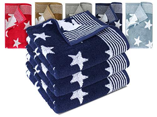 Dyckhoff Frottierserie aus dem Hause 3er-Pack Handtücher oder EIN Duschtuch - Elegantes Streifendesign kombiniert mit Sternen - geprüfte Qualität, 3er Pack Handtücher [50 x 100 cm], Navy