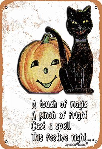 Metallschild mit schwarzer Katze, 20,3 x 30,5 cm, Retro-Look, Dekoration für...